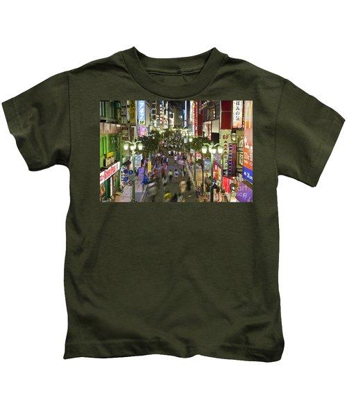 Shinjuku Street Scene At Night Kids T-Shirt