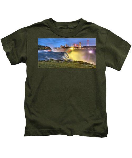 Silky Niagara Falls Panoramic Sunset Kids T-Shirt