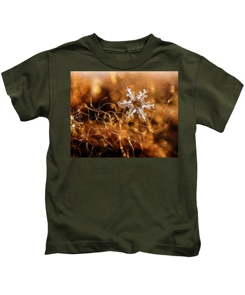 Snowflake On Brown Kids T-Shirt