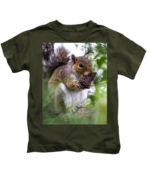 Squirrel With Pine Cone Kids T-Shirt