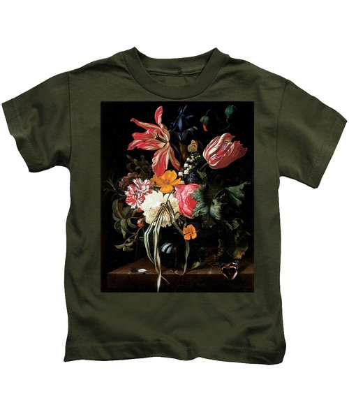 Still Life Of Flowers, 1669 Oil On Canvas Kids T-Shirt