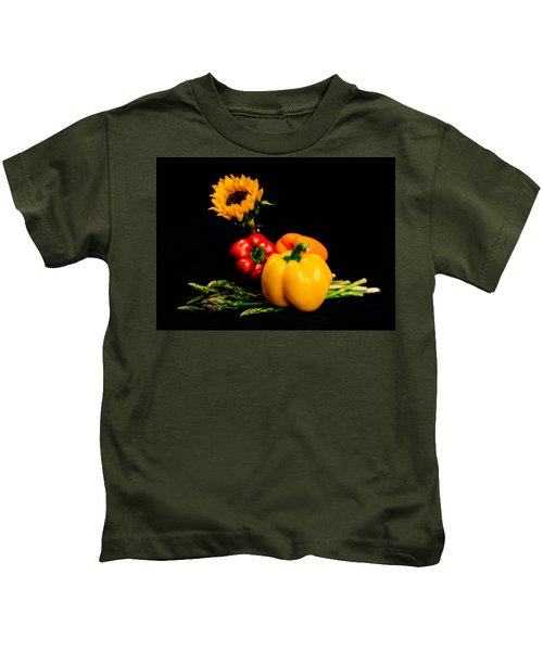 Still Life Peppers Asparagus Sunflower Kids T-Shirt by Jon Woodhams