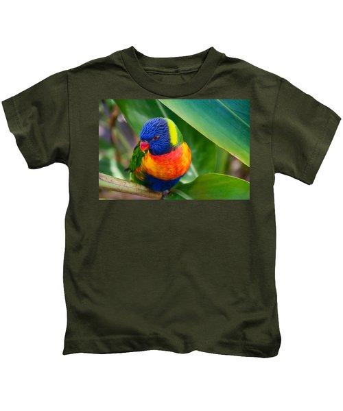 Striking Rainbow Lorakeet Kids T-Shirt
