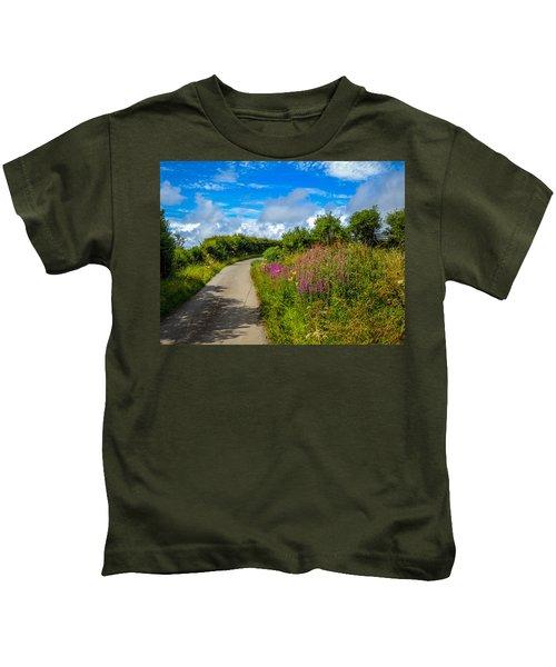 Summer Flowers On Irish Country Road Kids T-Shirt