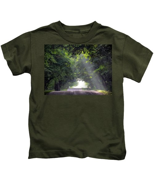 Sun Rays On Waters End Road Kids T-Shirt