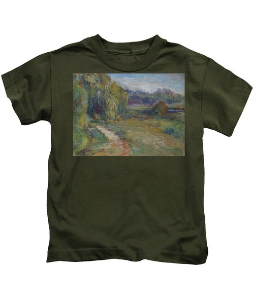 Sunny Morning In The Park -wetlands - Original - Textural Palette Knife Painting Kids T-Shirt