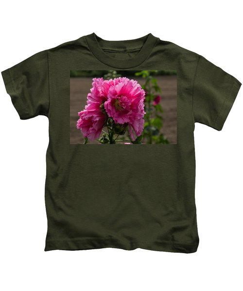 Sunny Vivid Pink Hollyhocks In A Cottage Garden Kids T-Shirt