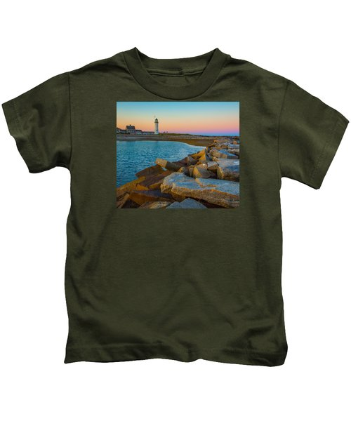 Sunset At Old Scituate Lighthouse Kids T-Shirt