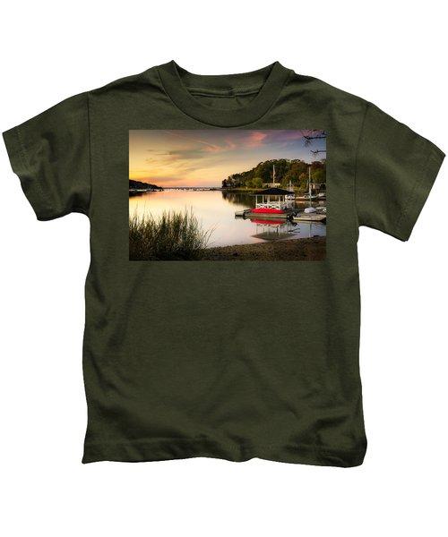 Sunset In Centerport Kids T-Shirt