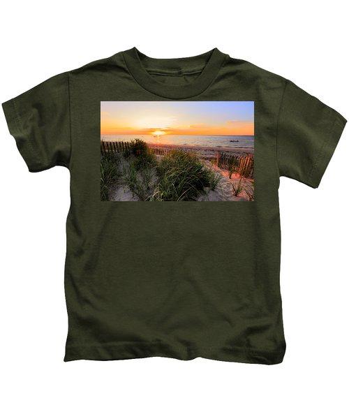 Sunset On Cape Cod Bay Kids T-Shirt