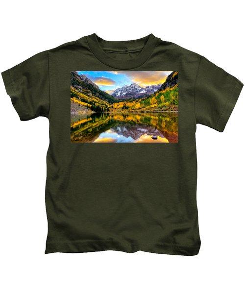 Sunset On Maroon Bells Kids T-Shirt