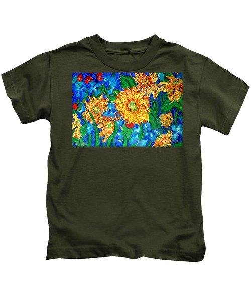 Symphony Of Sunflowers Kids T-Shirt