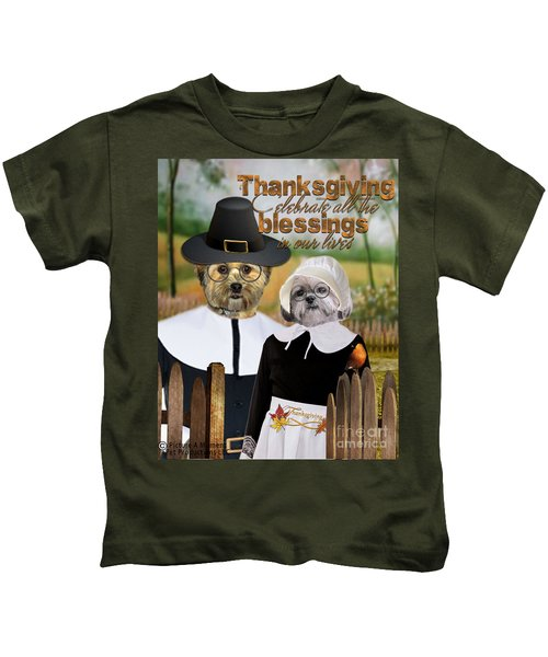 Thanksgiving From The Dogs-2 Kids T-Shirt
