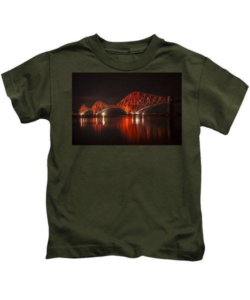 The Forth Bridge By Night Kids T-Shirt