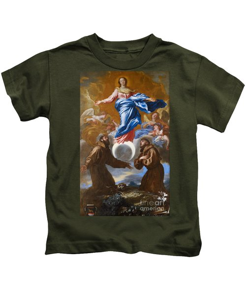 The Immaculate Conception With Saints Francis Of Assisi And Anthony Of Padua Kids T-Shirt