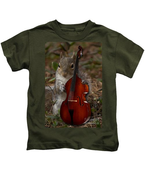 The Squirrel And His Double Bass Kids T-Shirt