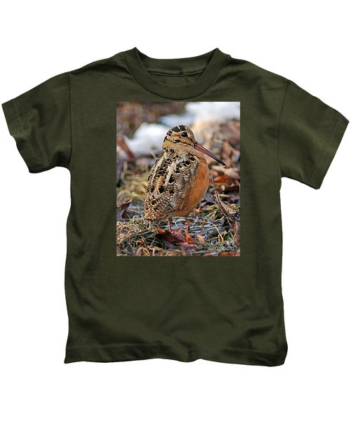 Timberdoodle The American Woodcock Kids T-Shirt by Timothy Flanigan