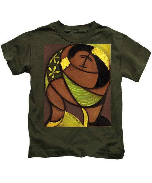 Hawaiian Couple Dancing Art Print Kids T-Shirt