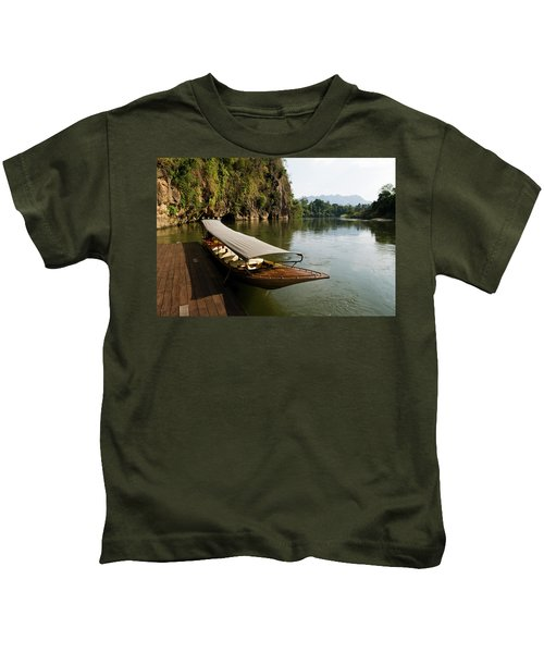 Traditional Thai Long Boat Docked Kids T-Shirt