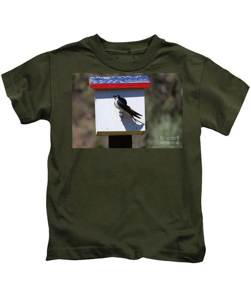 Tree Swallow Home Kids T-Shirt by Mike  Dawson