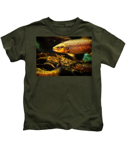 Trout Swiming In A River Kids T-Shirt