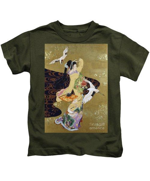 Tsuru No Mai Kids T-Shirt by Haruyo Morita