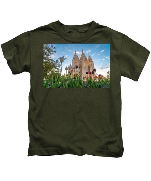 Tulips At The Temple Kids T-Shirt