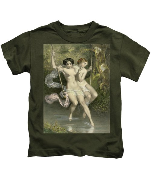 Two Ladies On A Swing Kids T-Shirt