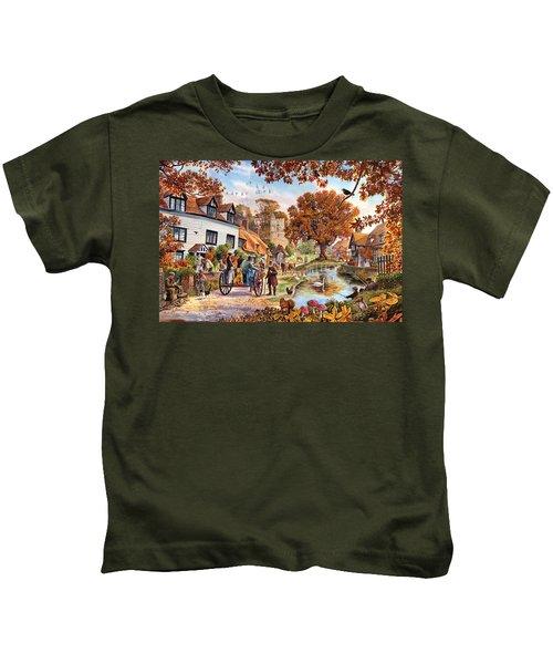 Village In Autumn Kids T-Shirt