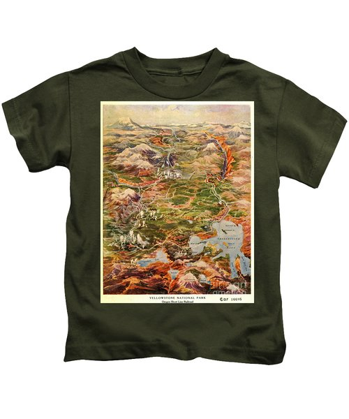 Vintage Map Of Yellowstone National Park Kids T-Shirt