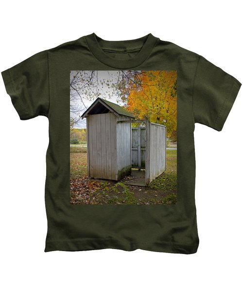 Vintage Outhouse Alongside A Historical Country School In Southwest Michigan Kids T-Shirt