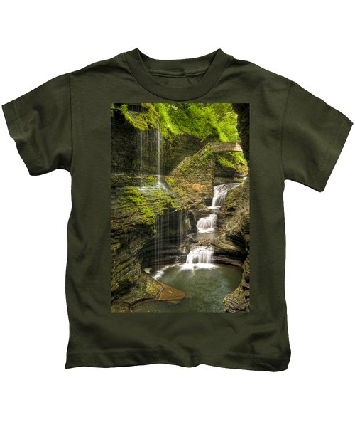 Watkins Glen Rainbow Falls Kids T-Shirt