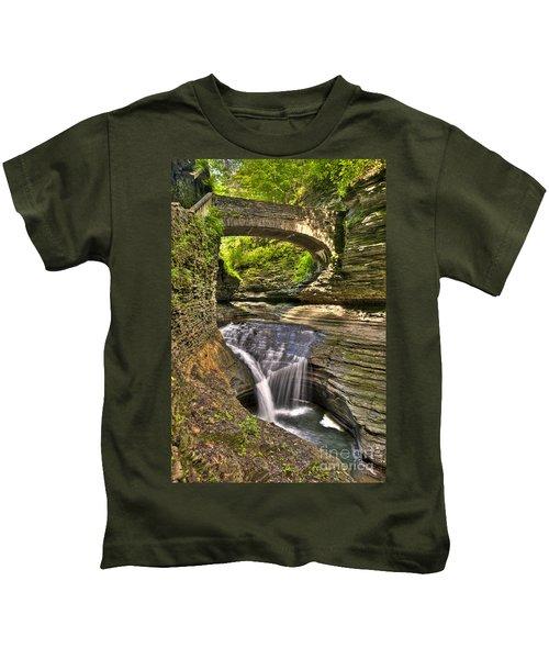 Watkins Glen Waterfalls Kids T-Shirt