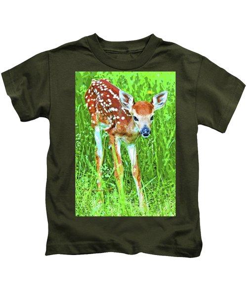 Whitetailed Deer Fawn Digital Image Kids T-Shirt