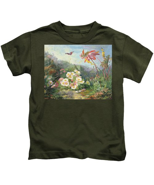 Wild Flowers And Butterfly Kids T-Shirt
