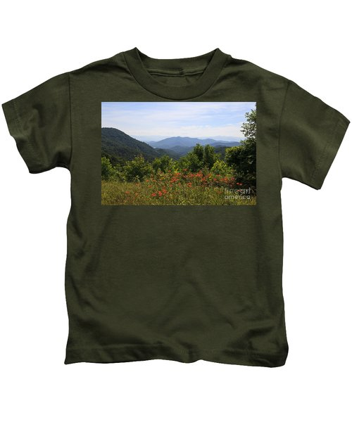 Wild Lilies With A Mountain View Kids T-Shirt