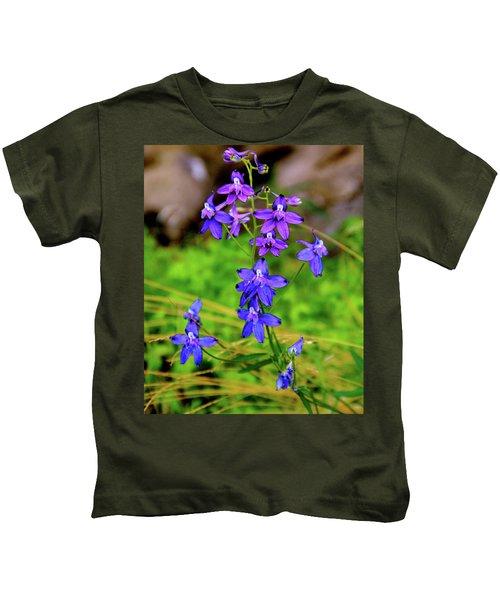 Wildflower Larkspur Kids T-Shirt