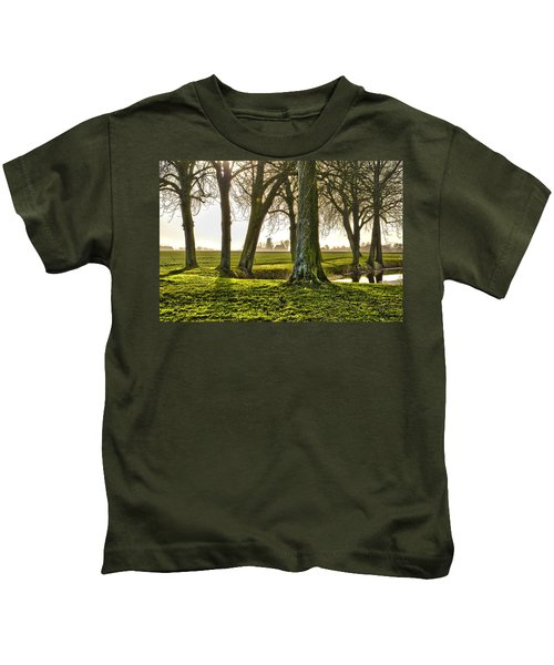 Windmill And Trees In Groningen Kids T-Shirt
