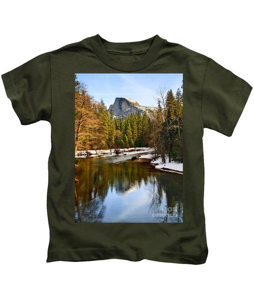 Winter View Of Half Dome In Yosemite National Park. Kids T-Shirt