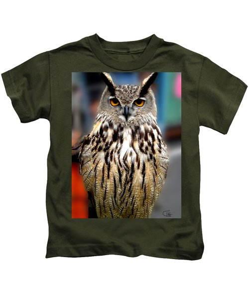 Kids T-Shirt featuring the photograph Wise Forest Mountain Owl Spain by Colette V Hera  Guggenheim