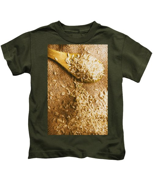 Wooden Tablespoon Serving Of Uncooked Brown Rice Kids T-Shirt