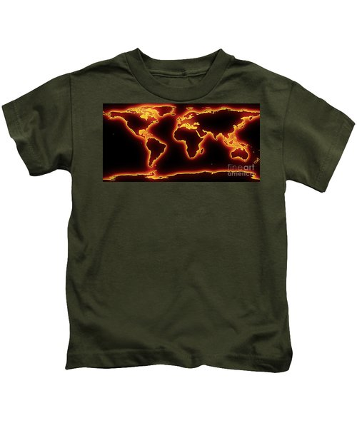 World Map Red Glow Kids T-Shirt