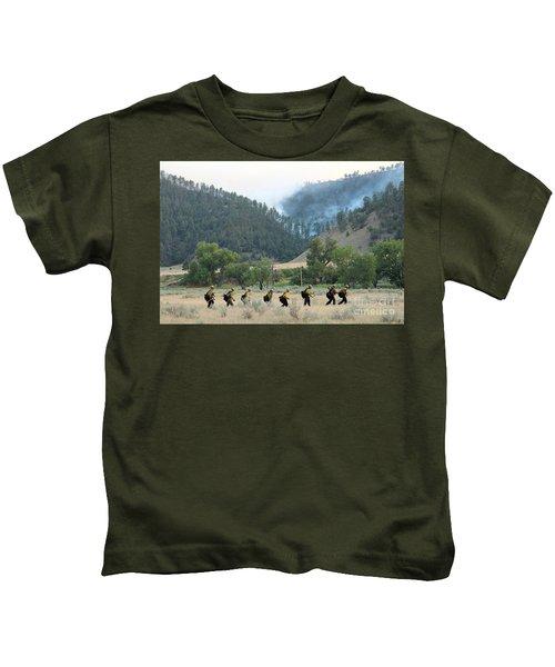 Wyoming Hot Shots Walk To Their Assignment Kids T-Shirt