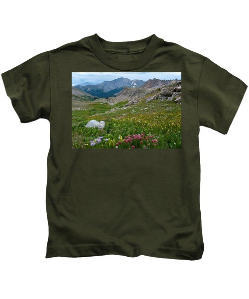 Yale Peak With Wildflowers Kids T-Shirt