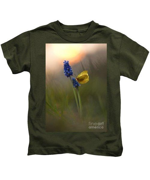 Yellow Butterfly On Grape Hyacinths Kids T-Shirt