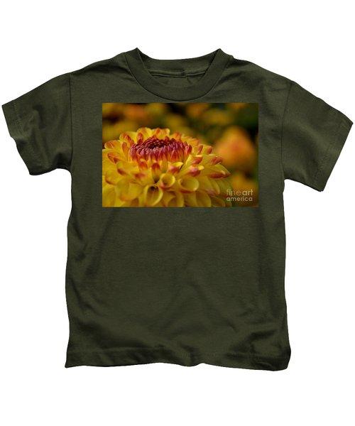 Yellow Dahlia Red Tips Kids T-Shirt