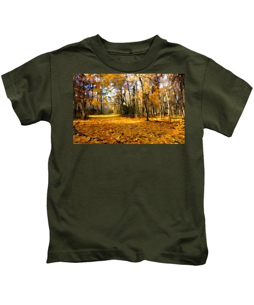 Kids T-Shirt featuring the photograph Yellow Leaf Road by William Jobes