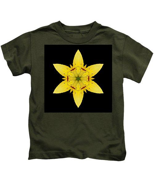 Yellow Lily I Flower Mandala Kids T-Shirt