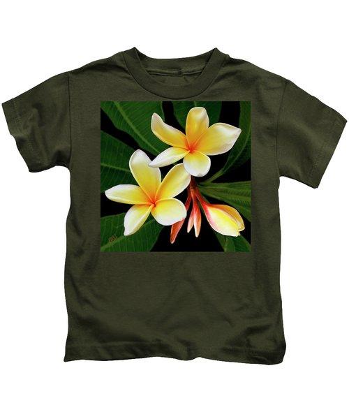 Yellow Plumeria Kids T-Shirt