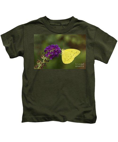 Yellow Sulfur On Butterfly Bush Kids T-Shirt